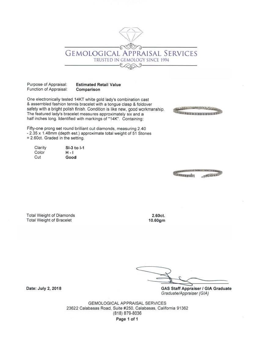 14KT White Gold 2.60 ctw Diamond Bracelet - 4