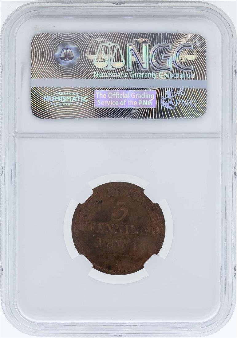 1871A Germany 3 Pfenninge Prussia Proof Coin NGC PF64RB - 2