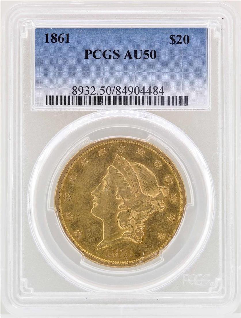 1861 $20 Liberty Head Double Eagle Gold Coin PCGS AU50