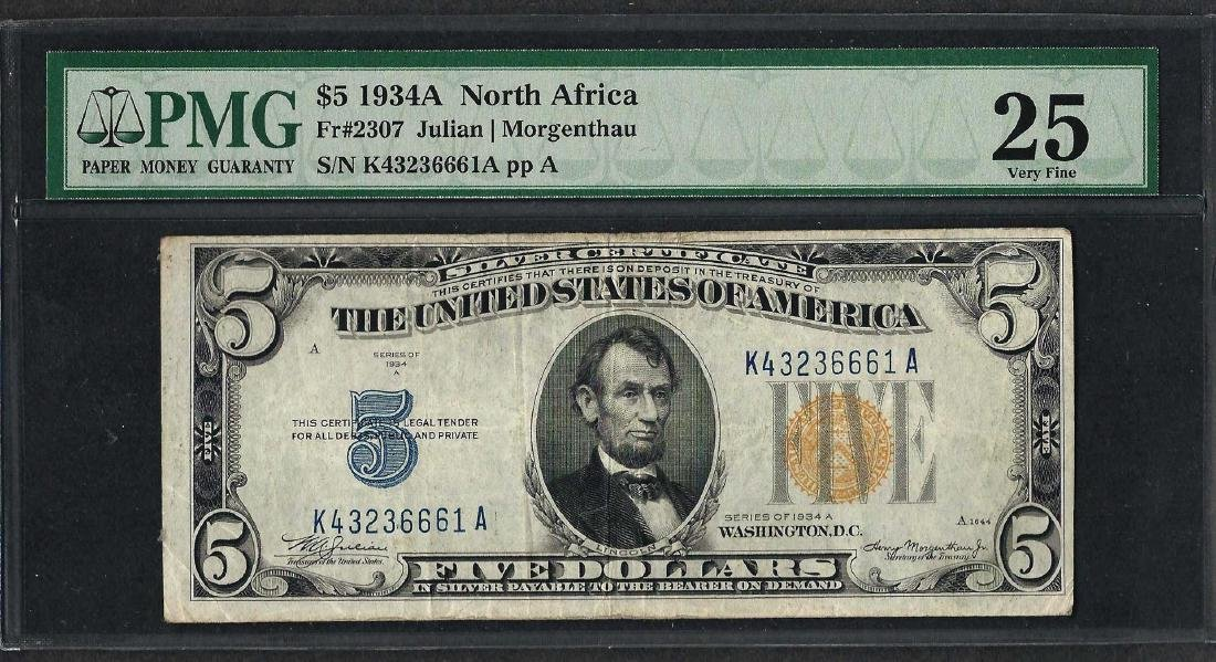 1934A $5 North Africa Silver Certificate WWII Emergency