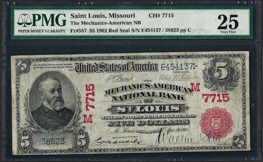 1902 $5 National Bank of St. Louis, MO CH# 587 National
