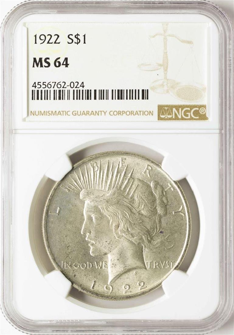 1922 $1 Peace Silver Dollar Coin NGC MS64