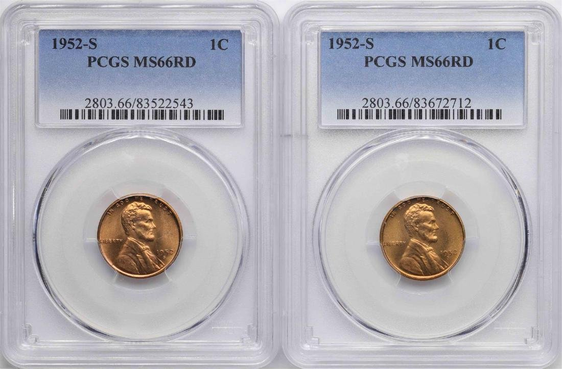 Lot of (2)1952-S Lincoln Wheat Cent Coins PCGS MS66RD