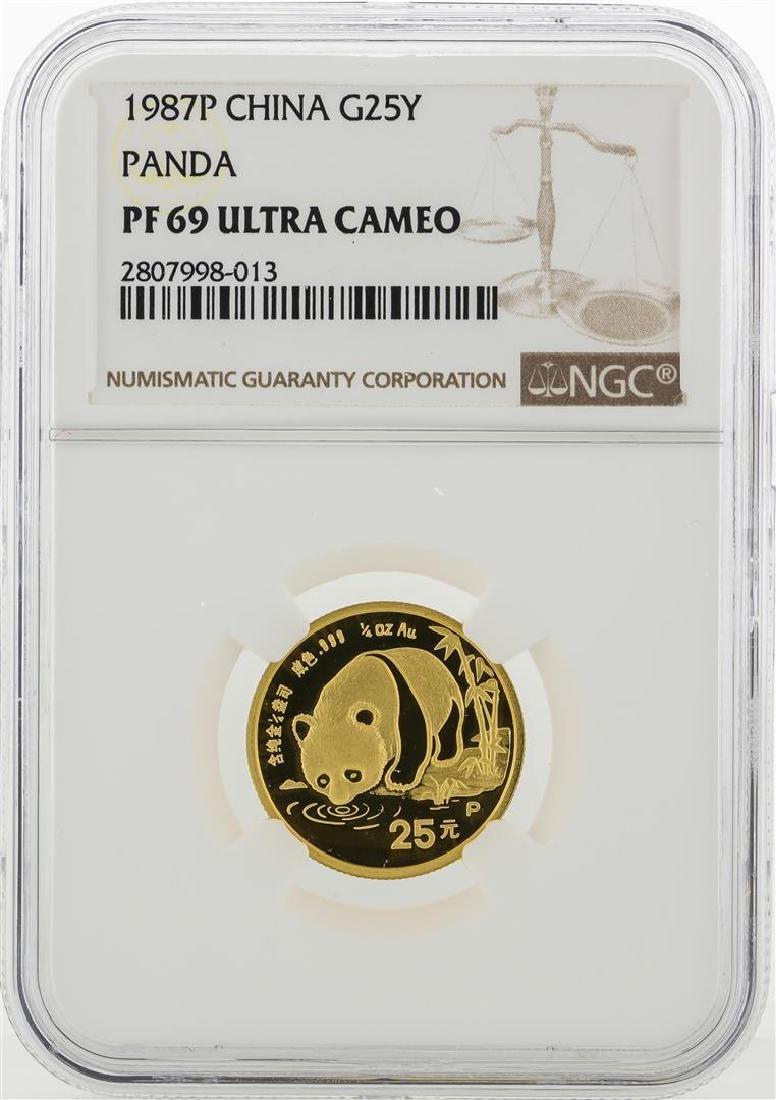 1987P China 25 Yuan Panda Gold Coin NGC PF69 Ultra