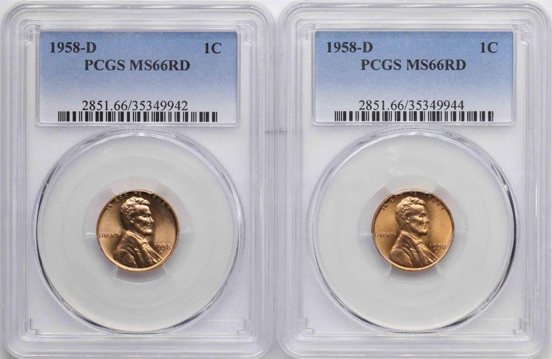 Lot of (2) 1958-D Lincoln Wheat Cent Coins PCGS MS66RD