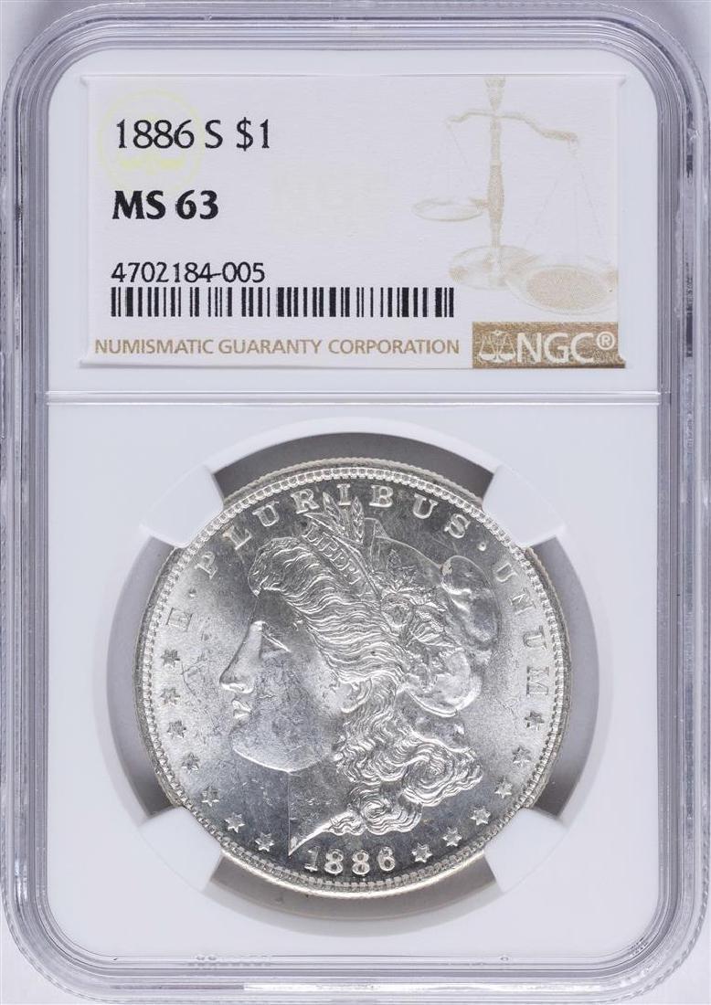 1886-S $1 Morgan Silver Dollar Coin NGC MS63