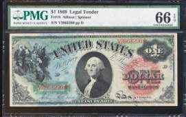 1869 $1 Rainbow Legal Tender Note Fr.18 PMG Gem