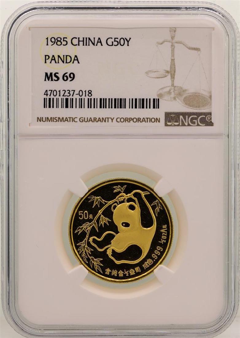 1985 China 50 Yuan Panda Gold Coin NGC MS69