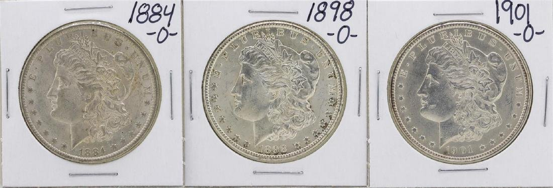 Lot of 1884-O, 1898-O, 1901-O $1 Morgan Silver Dollar
