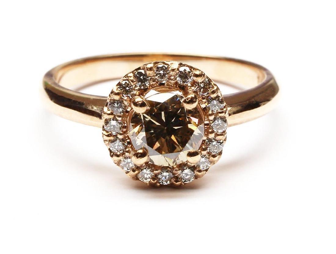 14KT Rose Gold 1.27 ctw Round Cut Diamond Engagement