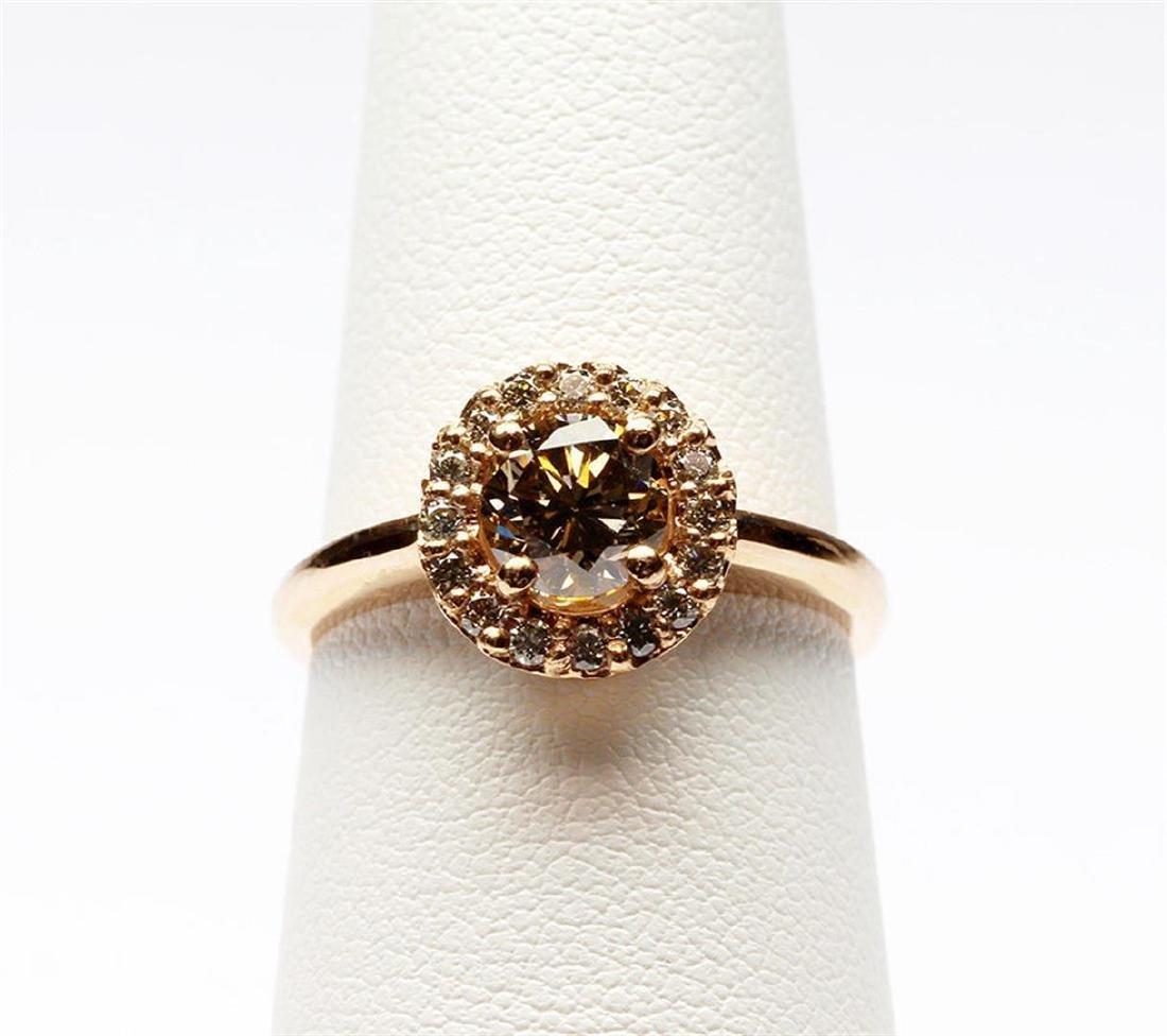 14KT Rose Gold 1.27 ctw Round Cut Diamond Engagement - 5