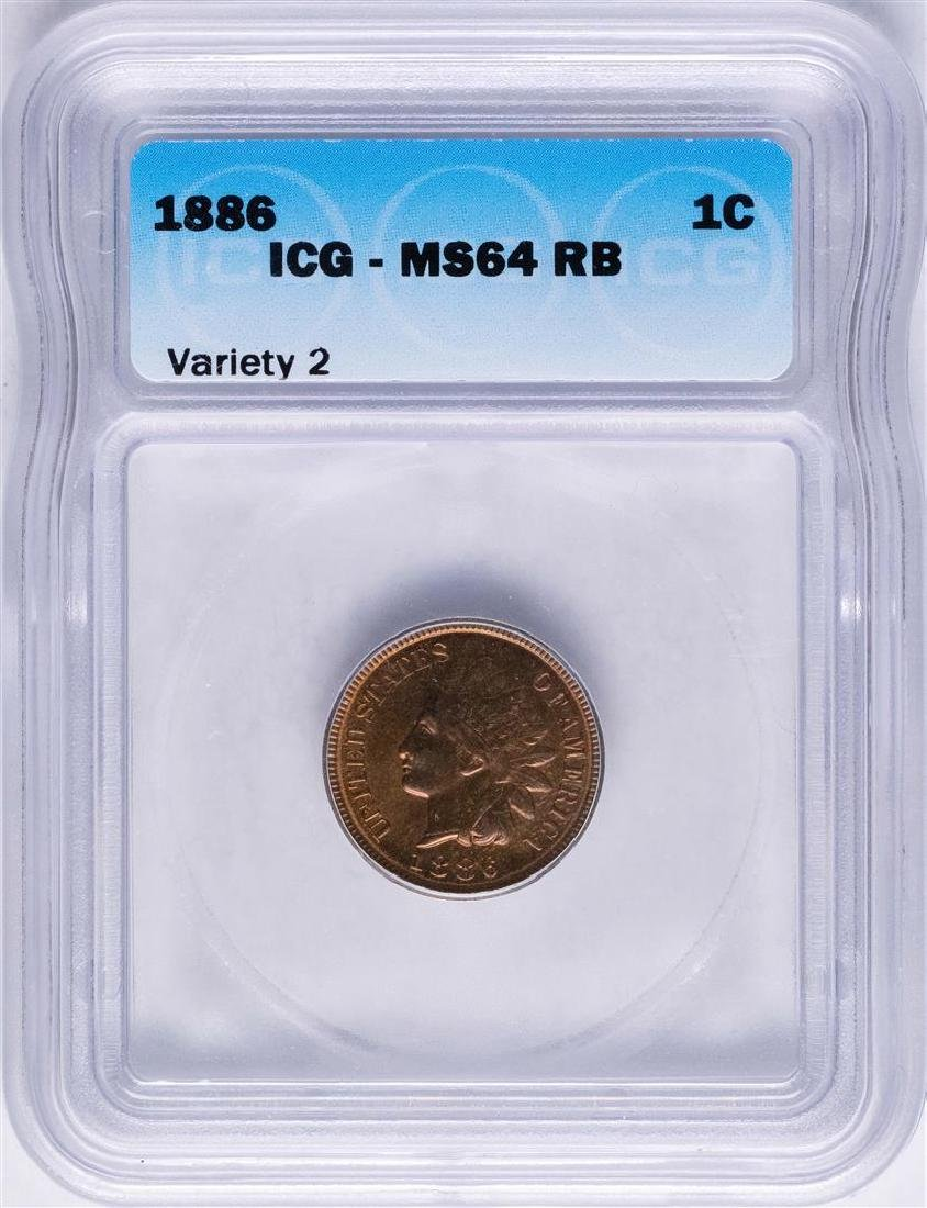 1886 Indian Head Cent Coin ICG MS64RB