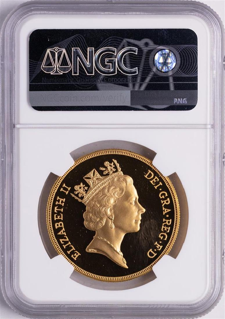 1992 Great Britain 5 Sovereigns Proof Gold Coin NGC - 2