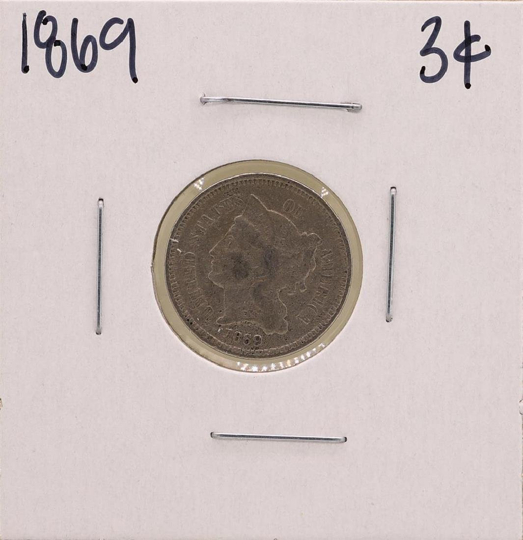 1869 Nickel Three Cent Piece Coin