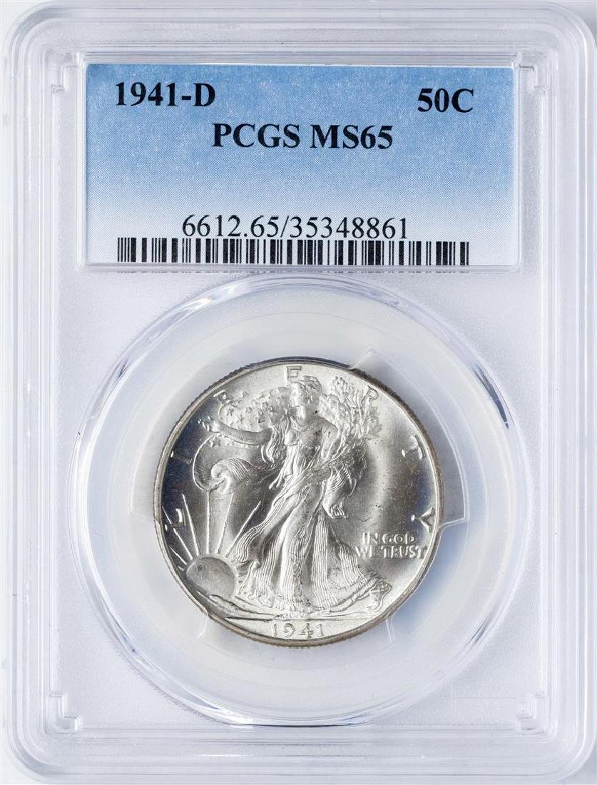 1941-D Walking Liberty Half Dollar Coin PCGS MS65