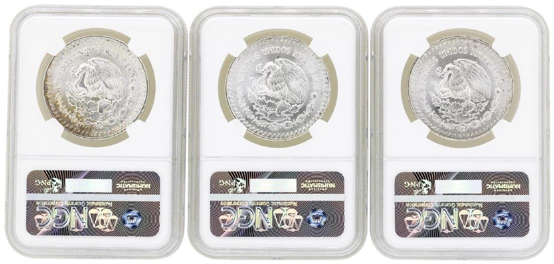 Lot of (3) Mexico 1 Onza Silver Libertad Coins NGC MS66 - 2