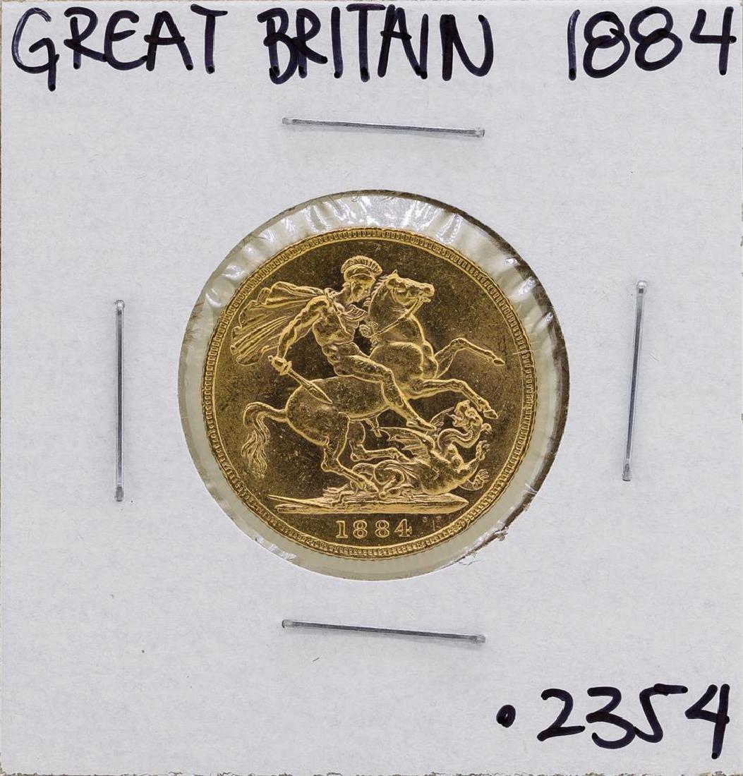1884 Great Britain Queen Victoria Sovereign Gold Coin