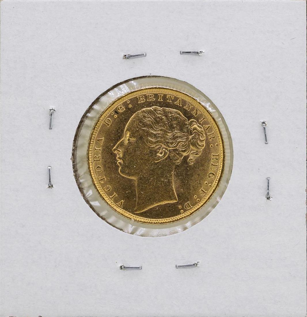 1884 Great Britain Queen Victoria Sovereign Gold Coin - 2
