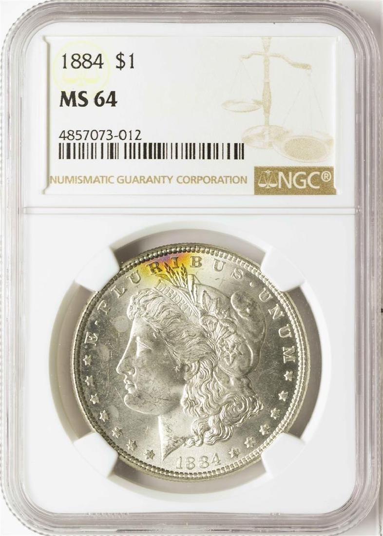 1884 $1 Morgan Silver Dollar Coin NGC MS64