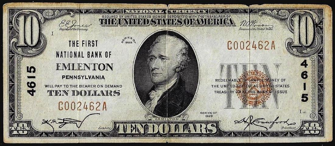 1929 $10 First NB of Emilenton, PA CH# 4615 National