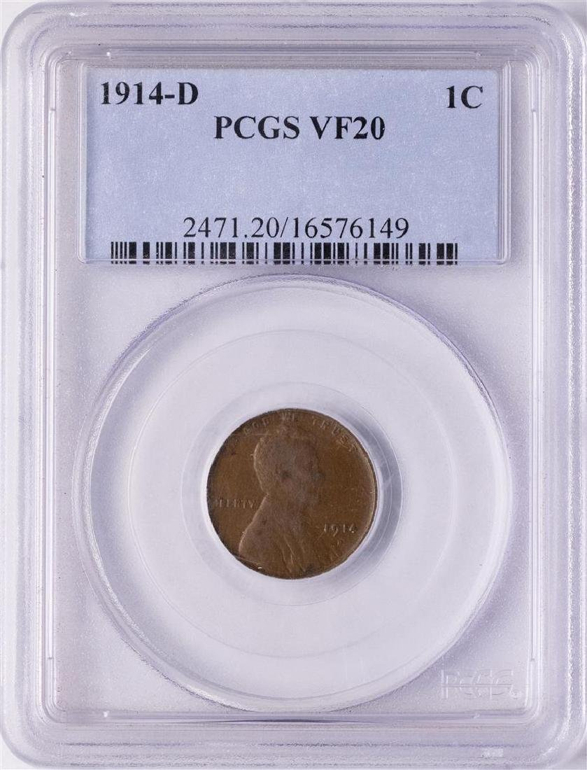 1914-D Lincoln Wheat Cent Coin PCGS VF20