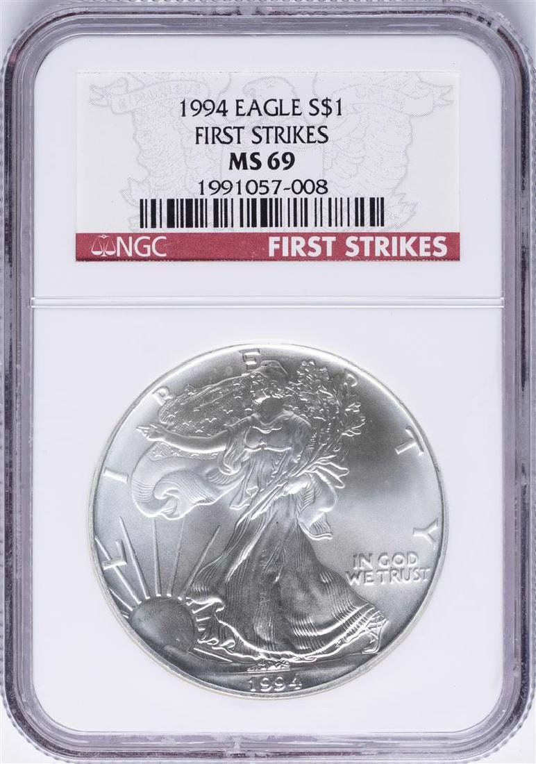 1994 $1 American Silver Eagle Coin NGC MS69 First