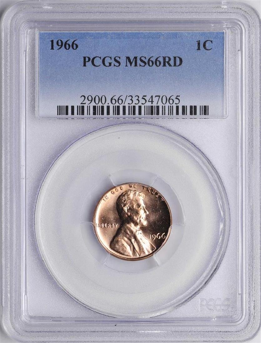 1966 Lincoln Wheat Cent Coin PCGS MS66RD