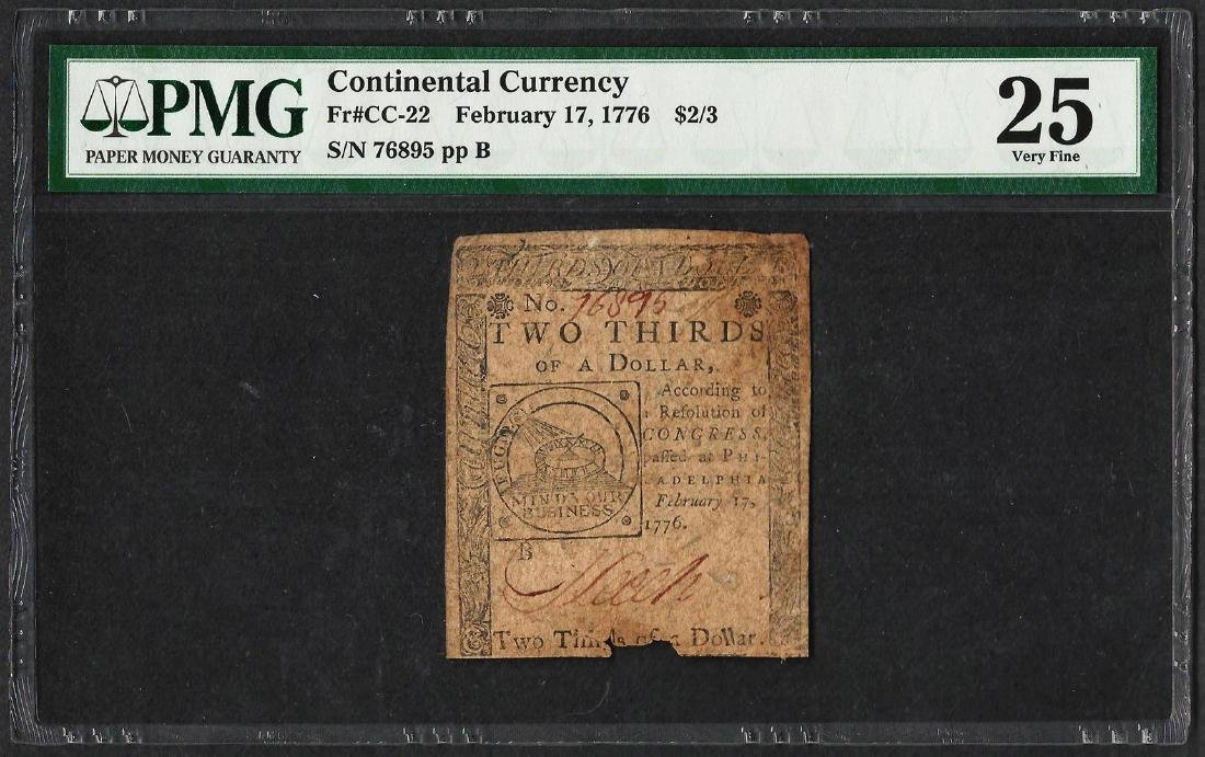 February 17, 1776 $2/3 Continental Currency Note