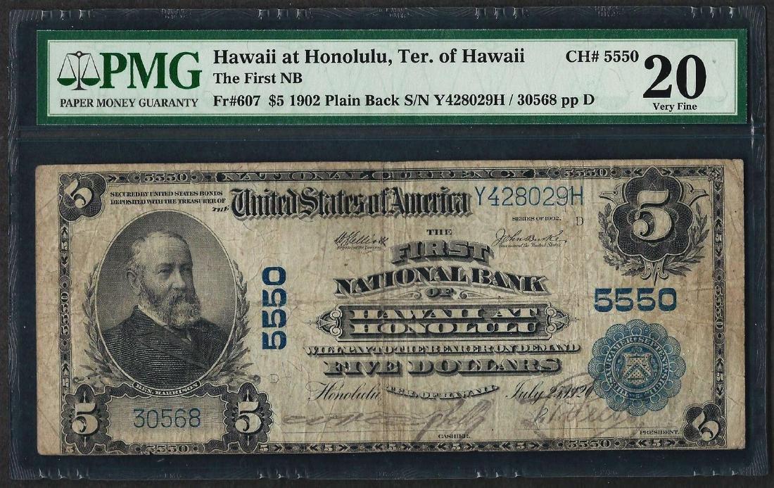 1902 PB $5 First NB of Hawaii at Honolulu CH# 5550