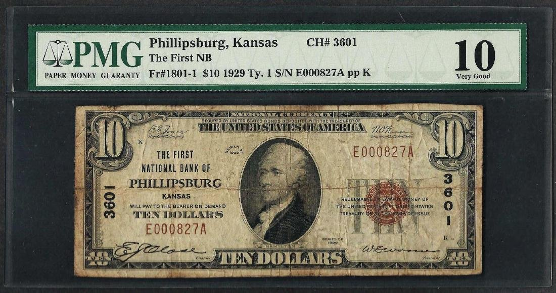 1929 $10 National Currency Note Phillipsburgh, KS CH#