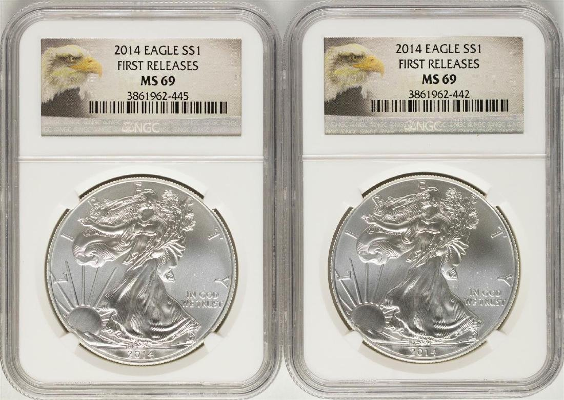 Lot of (2) 2014 $1 American Silver Eagle Coins NGC MS69