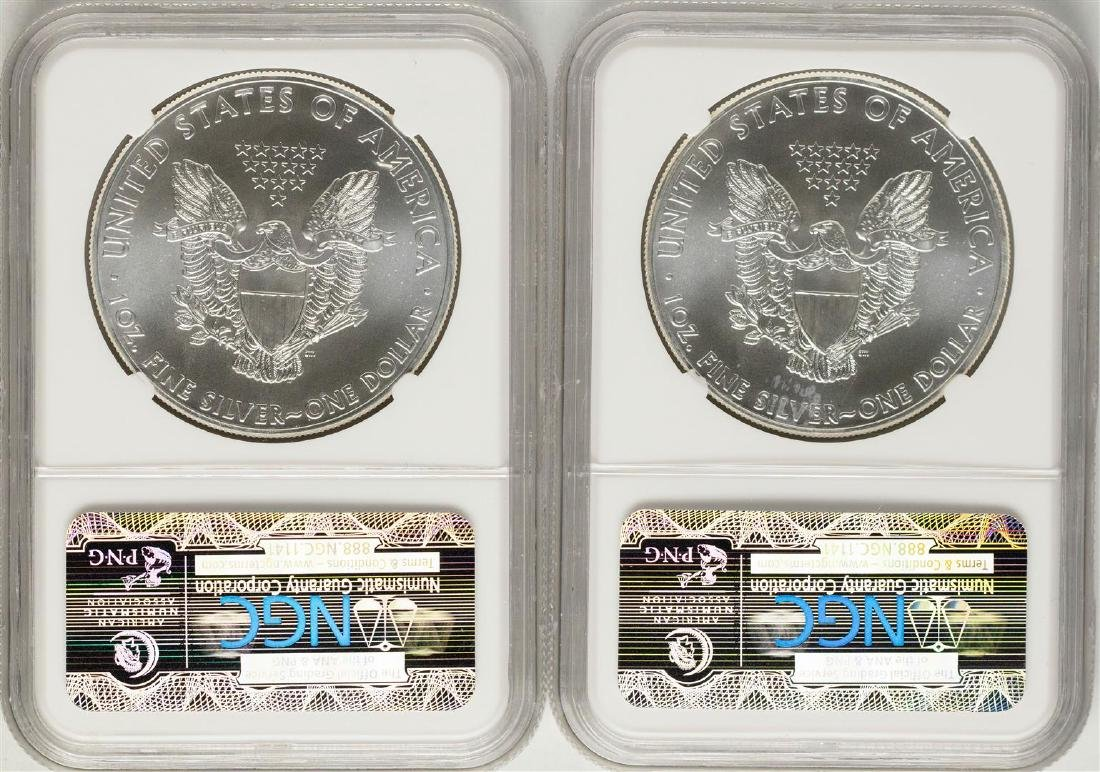 Lot of (2) 2014 $1 American Silver Eagle Coins NGC MS69 - 2