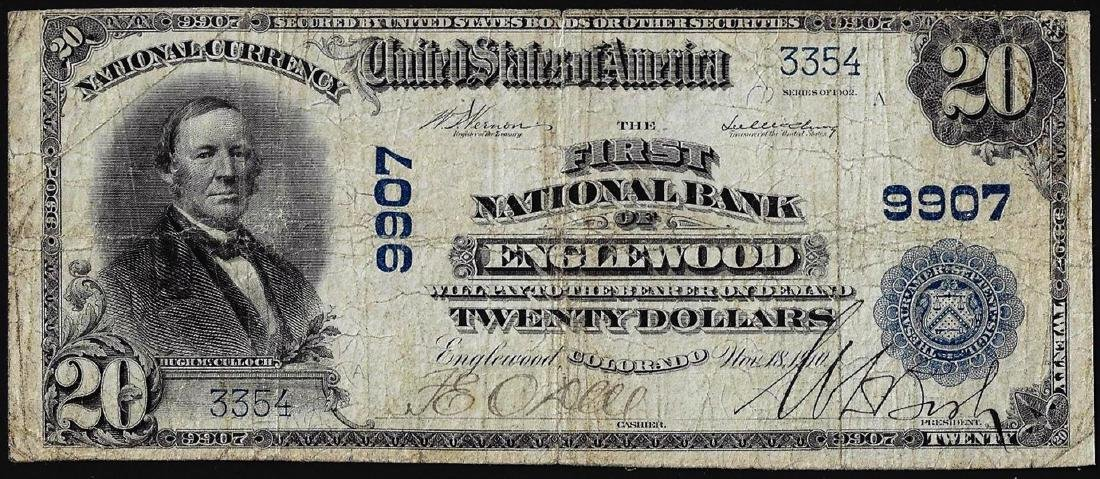 1902 PB $20 First NB of Englewood, CO CH# 9907 National