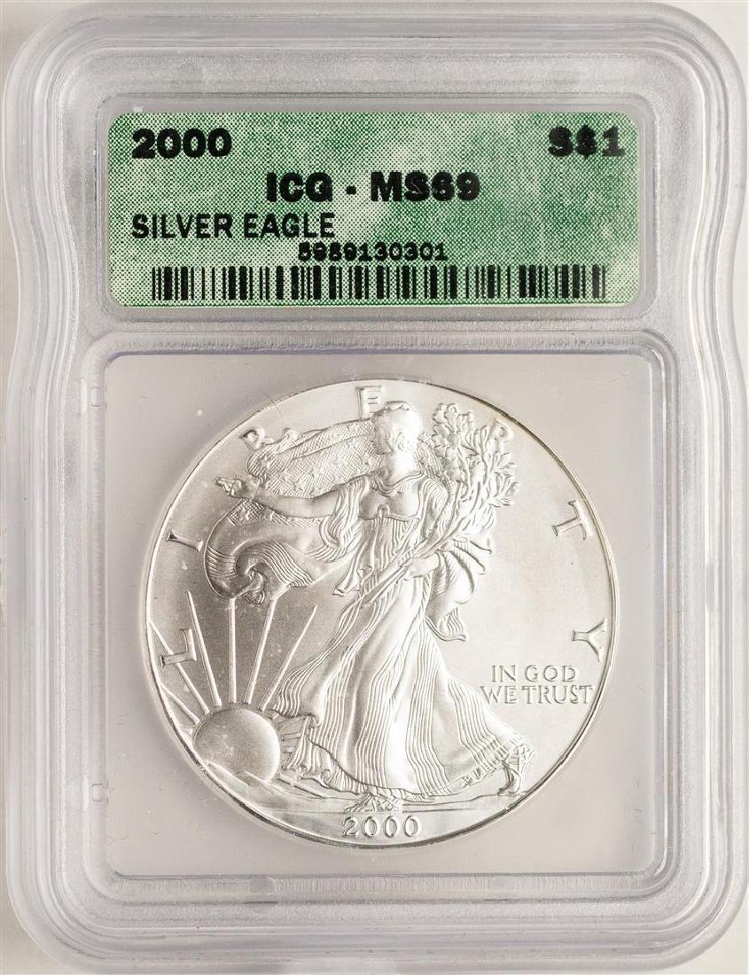 2000 $1 American Silver Eagle Coin ICG MS69