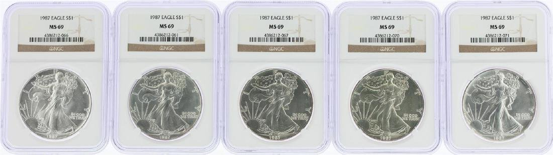 Lot of (5) 1987 $1 American Silver Eagle Coins NGC MS69