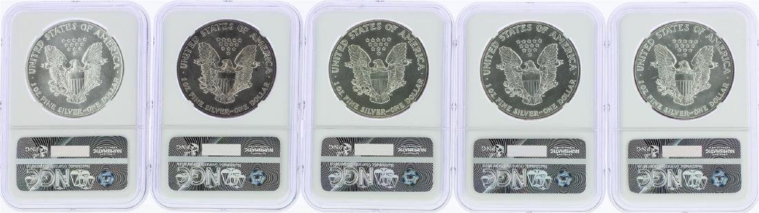 Lot of (5) 1987 $1 American Silver Eagle Coins NGC MS69 - 2