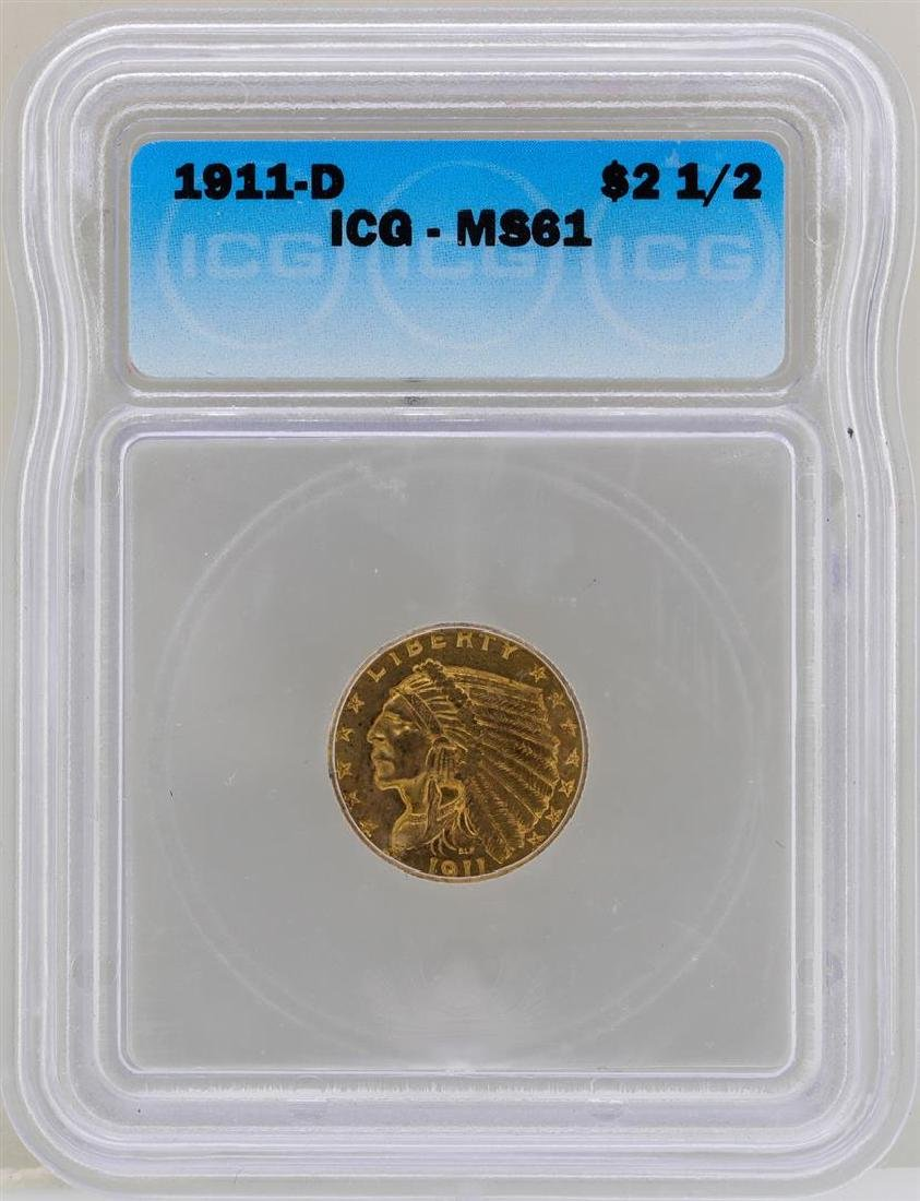 1911-D $2 1/2 Indian Head Quarter Eagle Gold Coin ICG