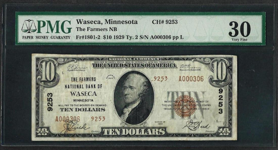 1929 $10 National Currency Note Waseca, MN CH# 9253 PMG