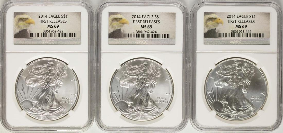 Lot of (3) 2014 $1 American Silver Eagle Coins NGC MS69
