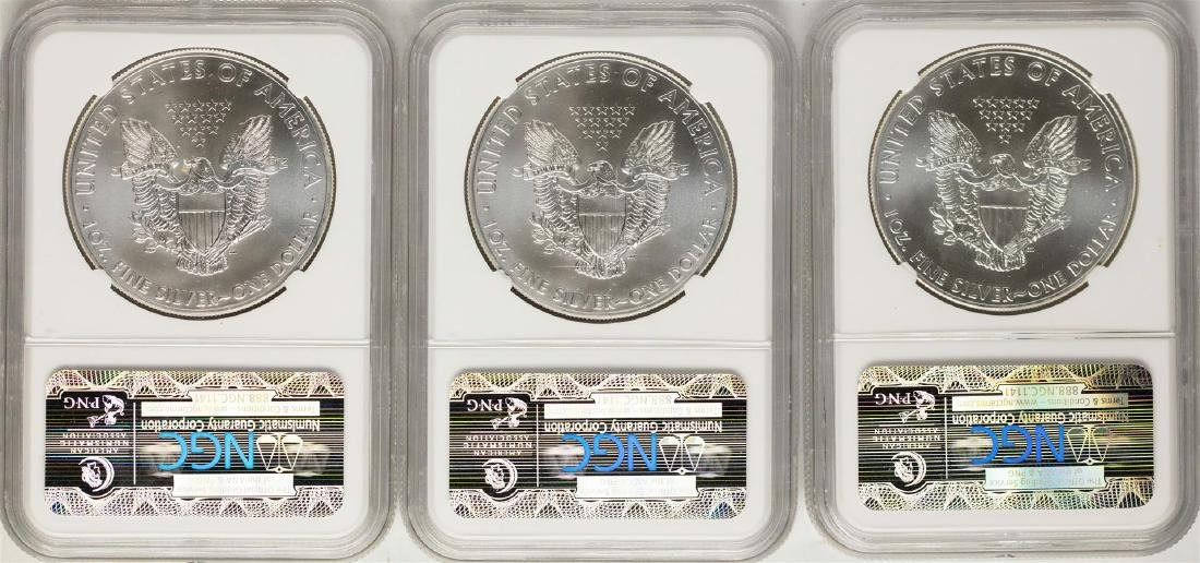 Lot of (3) 2014 $1 American Silver Eagle Coins NGC MS69 - 2