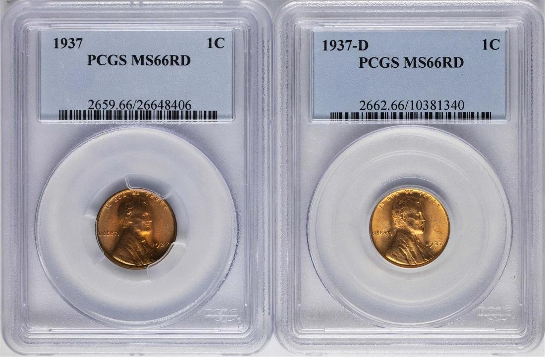 Lot of 1937 & 19376-D Lincoln Wheat Cent Coins PCGS