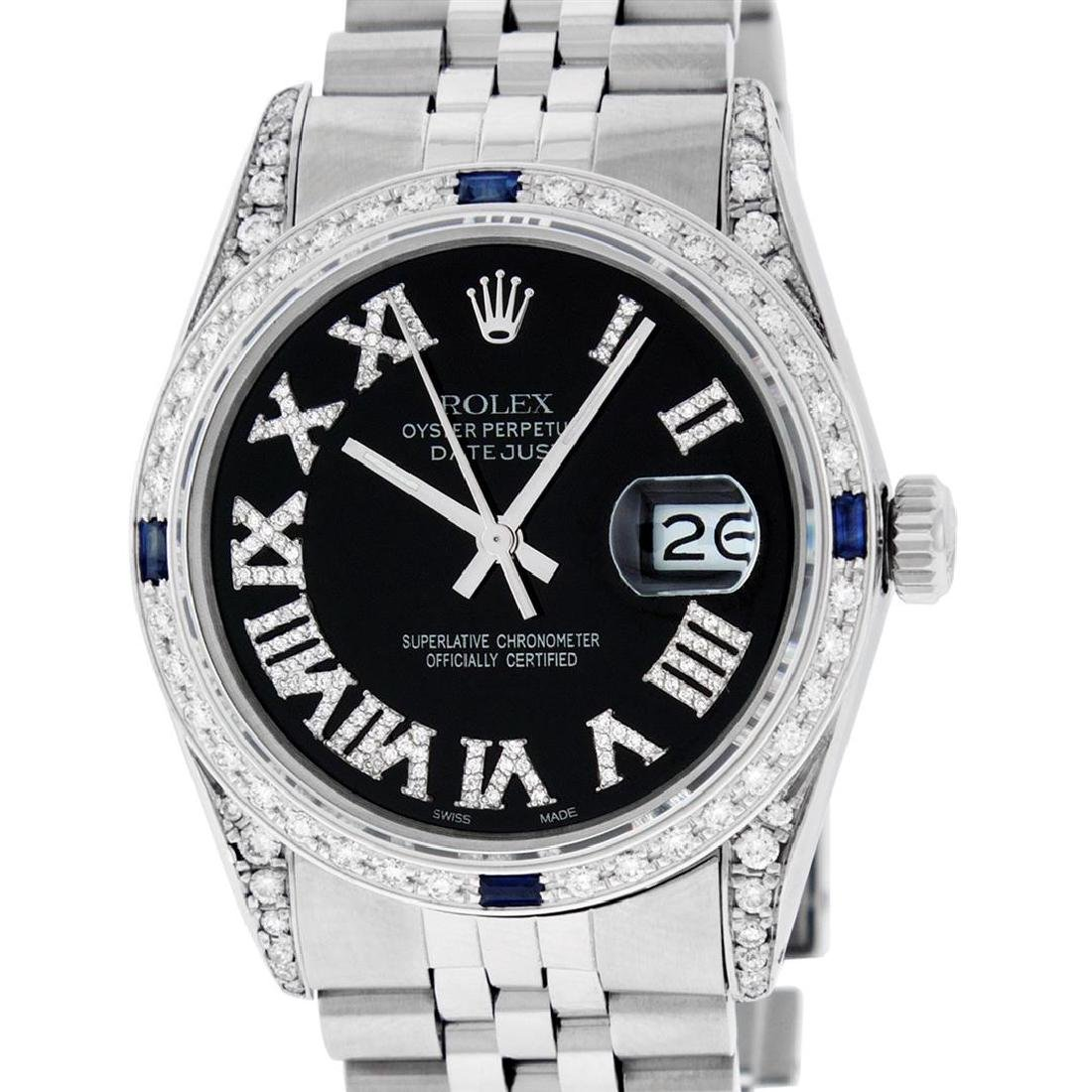 Rolex Mens Stainless Steel Black Roman Diamond &