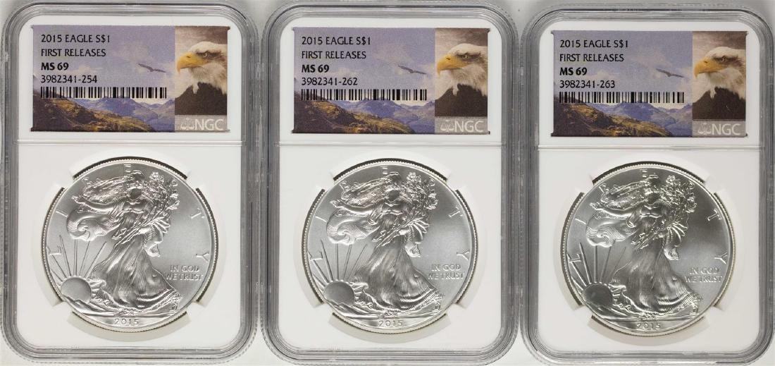 Lot of (3) 2015 $1 American Silver Eagle Coins NGC MS69