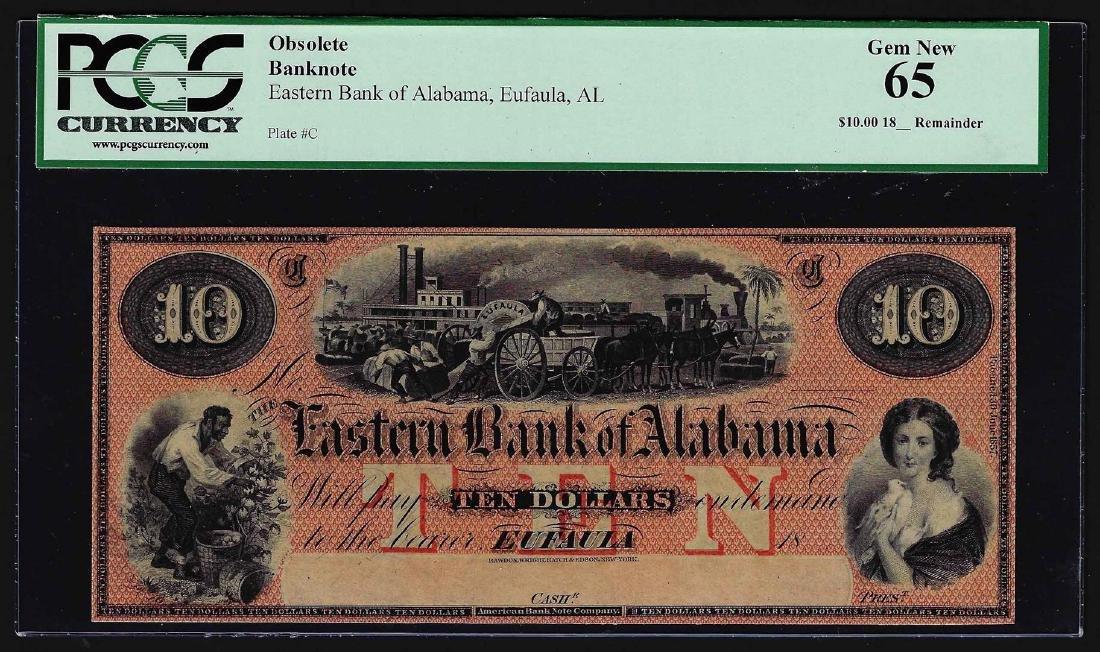1800's $10 Eastern Bank of Alabama Eufaula, AL Obsolete