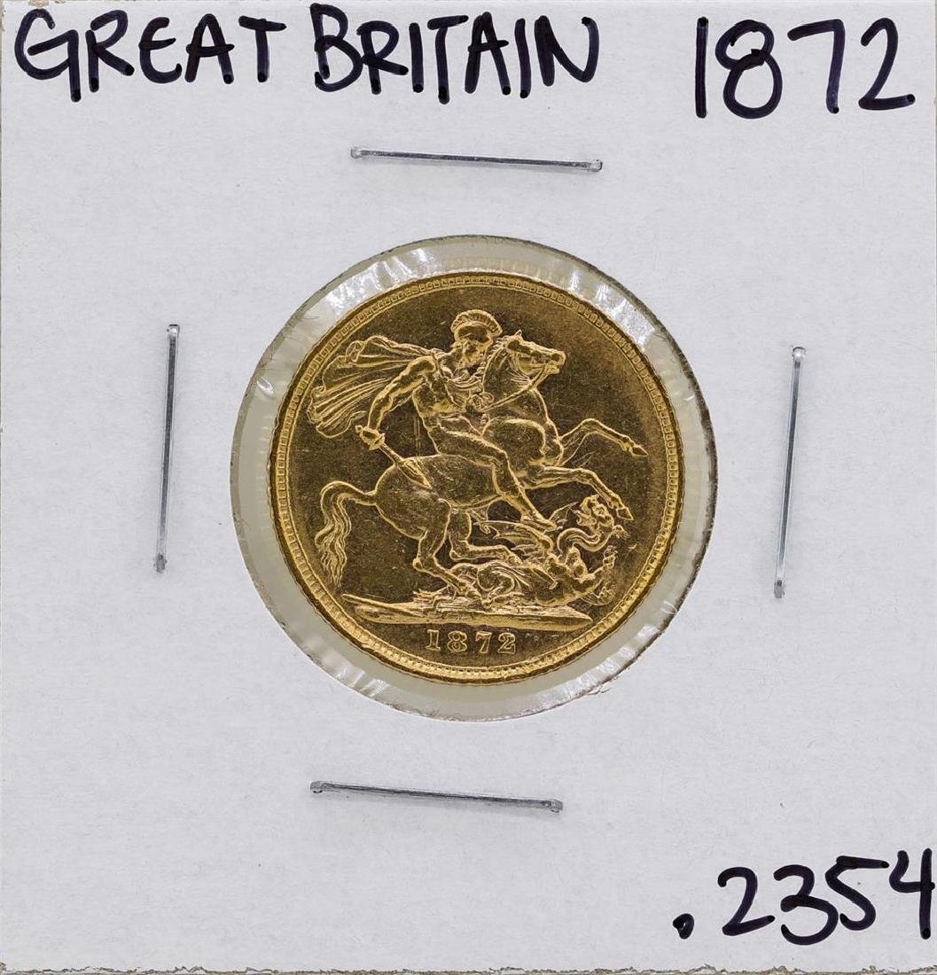 1872 Great Britain Queen Victoria Sovereign Gold Coin