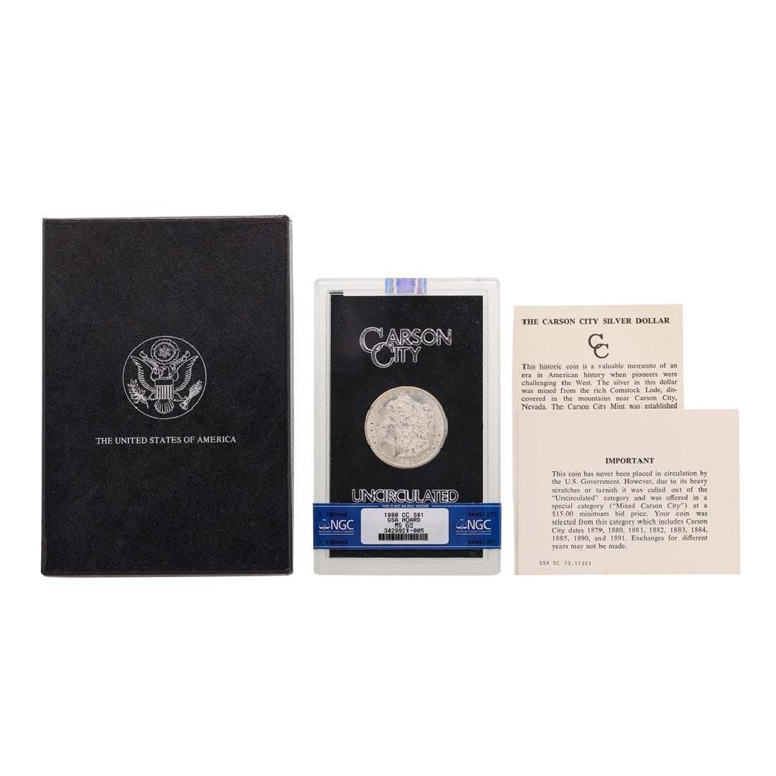 1880-CC $1 Morgan Silver Dollar Coin w/ Box GSA & COA