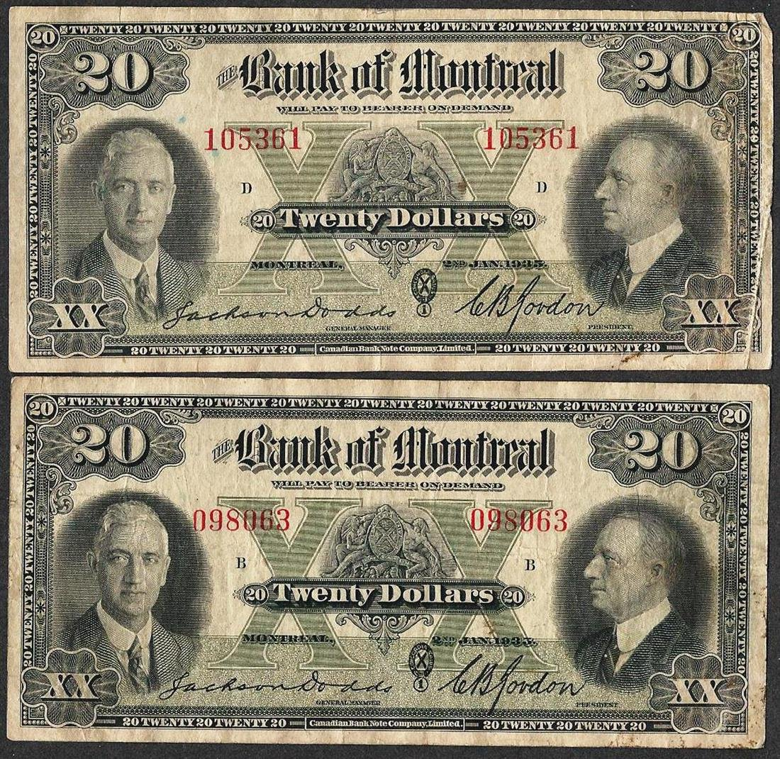 Lot of (2) 1935 $20 The Bank of Montreal Canada Notes