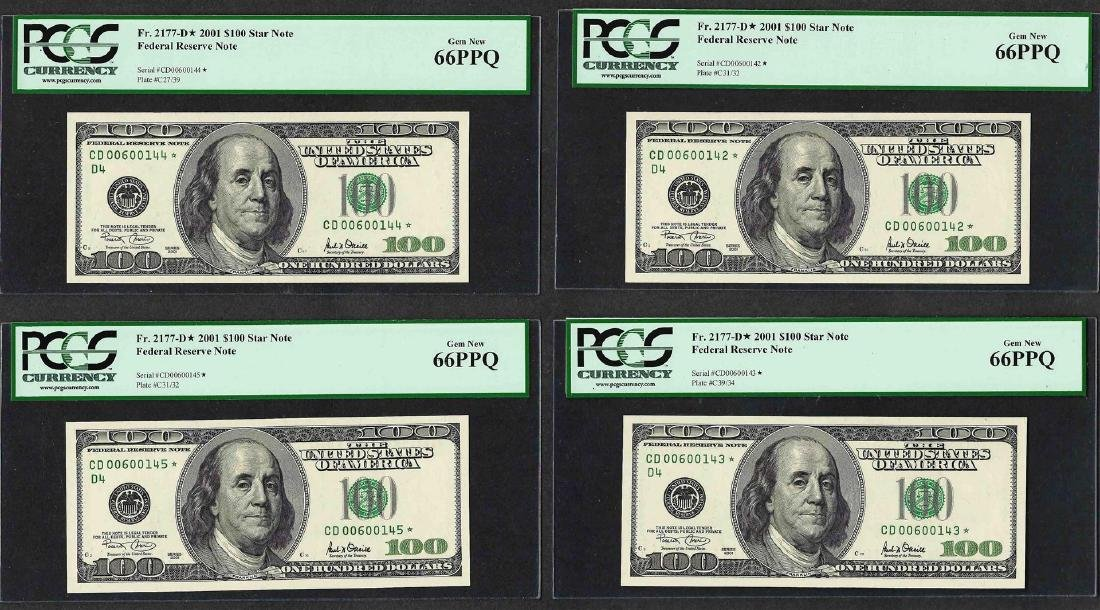 Lot of (4) Consecutive 2001 $100 Federal Reserve STAR