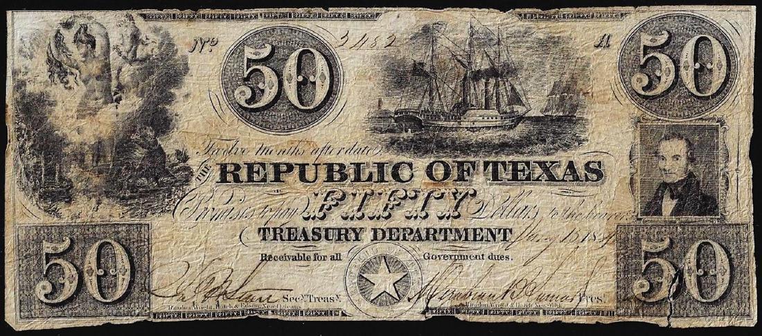 1878 $50 Republic of Texas Treasury Obsolete Bank Note