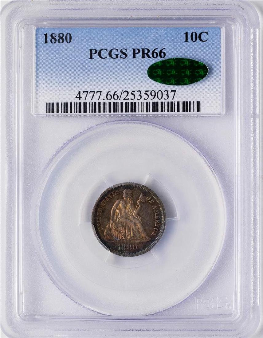 1880 Proof Seated Liberty Dime Coin Arrows PCGS PR66